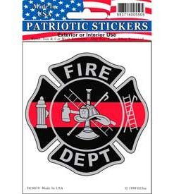 Fire Dept Fireman Red line Full Color Window Decal Sticker Licensed