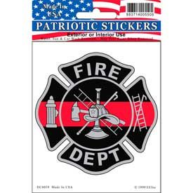 Fire Dept Fireman Red line Full Color Window Decal Sticker Licensed