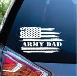 Army Dad Weathered Flag Window Decal Sticker