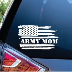Army Mom Weathered Flag Window Decal Sticker