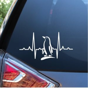 Penguin Heartbeat Love Window Decal Sticker