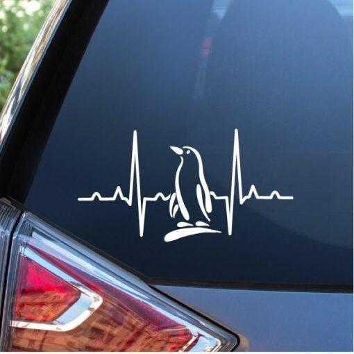 Penguin Heartbeat Love Window Decal Sticker