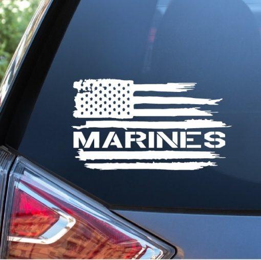 USMC Marines Weathered Flag Window Decal Sticker