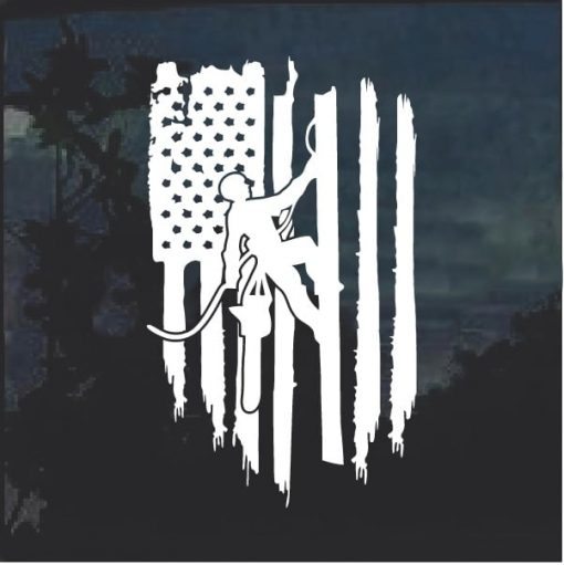Logger chainsaw Weathered Flag Decal Sticker