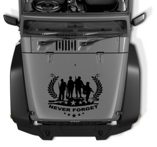 Never forget Military Honor Jeep Hood Decal 35 x 23