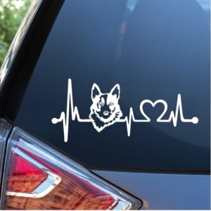 Blue Heeler Cattle Dog Love Heartbeat Window Decal Sticker