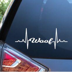 Dog Decal Sticker Woof Heartbeat