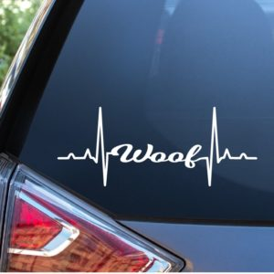 Dog Decal Sticker Woof Heartbeat