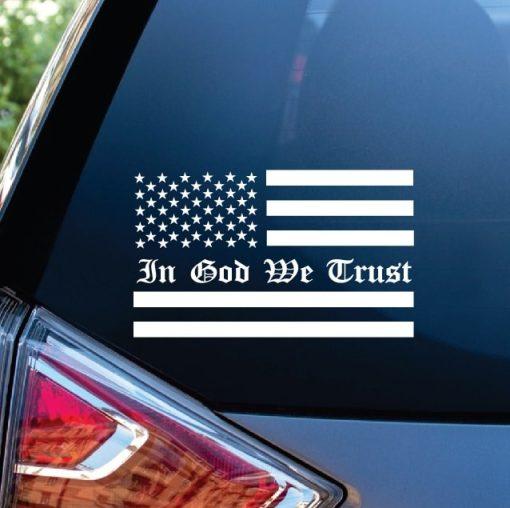 In God We Trust American Flag Window Decal Sticker