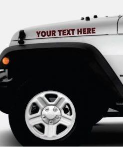 Jeep custom text 2 color hood decals