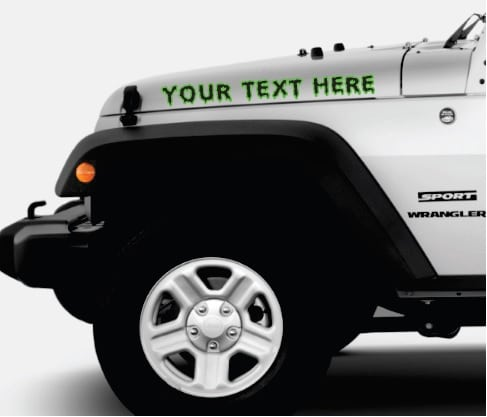 Jeep custom text 2 color Outlined Muddy Font Hood Decals
