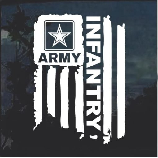 Army Infantry Weathered Flag Decal Sticker