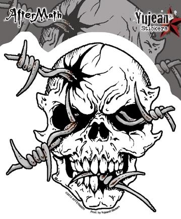 Barb Wire Skull Aftermath Window Decal Sticker