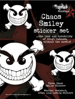 Chaos Smiley Skull White Decal Set of 3 - 1 large and 2 small