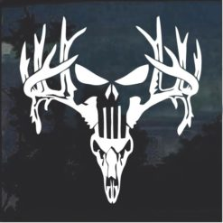 Deer antlers Skull Punisher Window Decal Sticker
