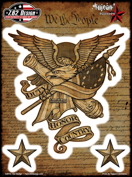 Duty Honor Country Eagle Flag Window Decal Sticker