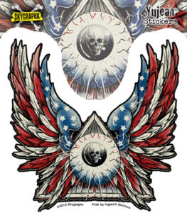 Eagle American Flag Skull Eyeball Decal Sticker