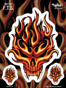 Flaming Skull Window Decal Sticker set 1 large 2 small
