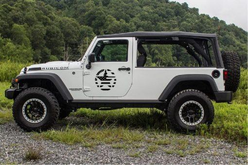 Jeep Foor Weathered USA Flag Door Star Decal Sticker