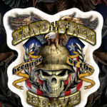 Land of the Free Eagle Flag Skull Military Decal Sticker