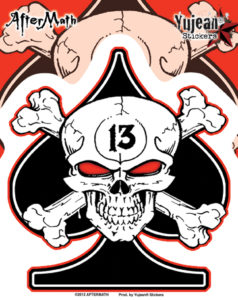 Lucky 13 Skull Spade Aftermath Decal Sticker