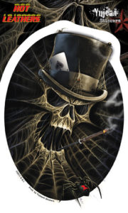 Skull Black Widow Spider Web Top Hat Aces Decal Sticker