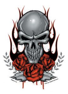 Skull Roses Full Color Decal sticker