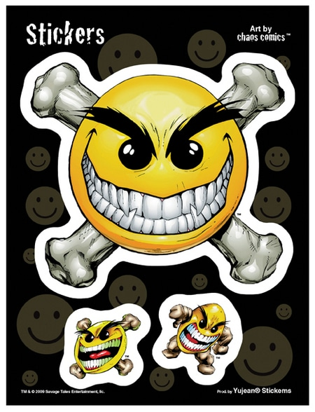 Smiley Skull Chaos Decal sticker set of 3