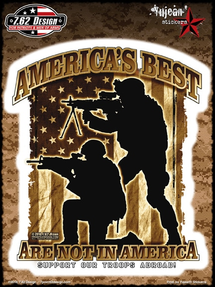 Support our troops abroad full color window decal sticker