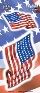 Waiving American Flag Decal sticker set of 2