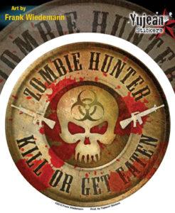 Zombie Hunter Skull full color Bio Hazzard Window Decal Sticker