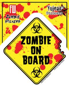 Zombie on Board Diamond Decal Sticker
