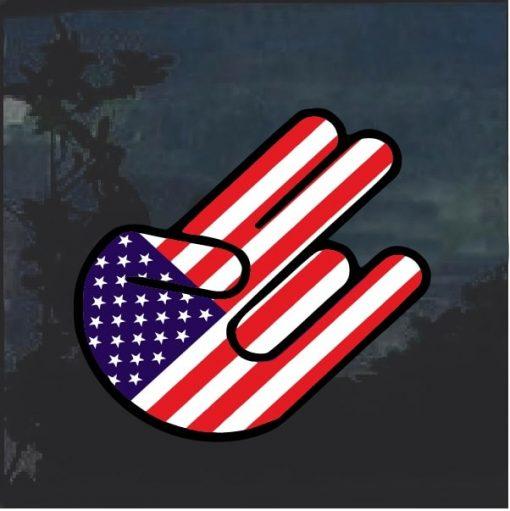 American Flag Shocker Car Window Decal Sticker