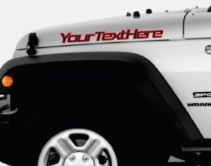 Jeep custom text 2 color BOLD Outlined Hood Decals