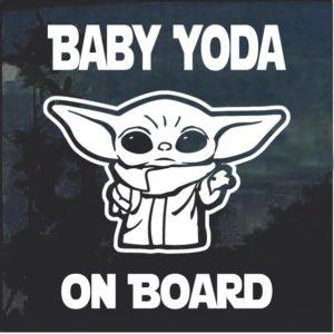 Baby Yoda On Board Window Decal Sticker