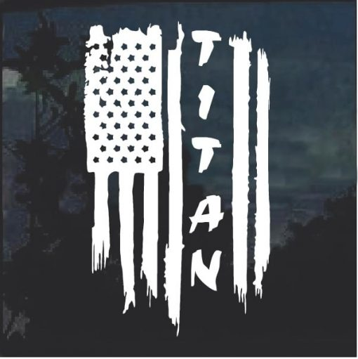 Nissan Titan Weathered American Flag Truck Decal Sticker a2
