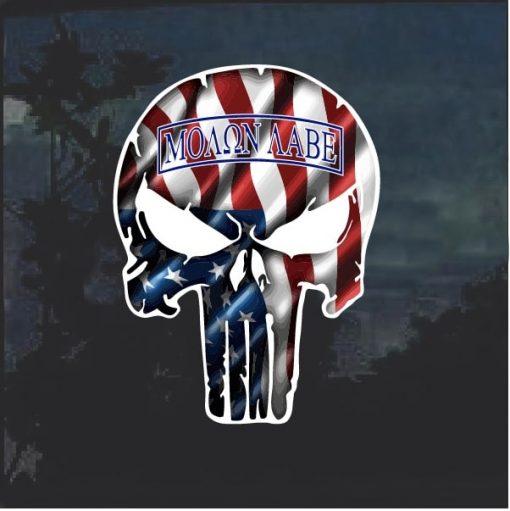 Punisher Molon Labe American Flag Window Decal Sticker