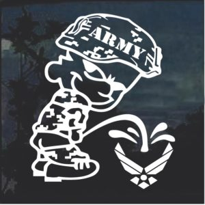 Calvin Army Pee on Air Force Window Decal Sticker