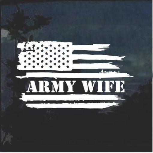 Army Wife Weathered Flag Window Decal Sticker