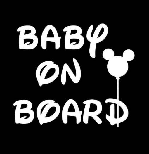 Baby on Board Disney Mickey Ears Decal Sticker