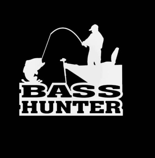 Bass Hunter Fishing Decal Sticker