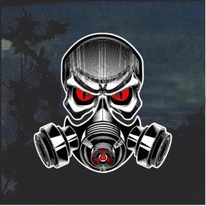 Bio Hazard Skull Gas Mask Full Color Window Decal Sticker