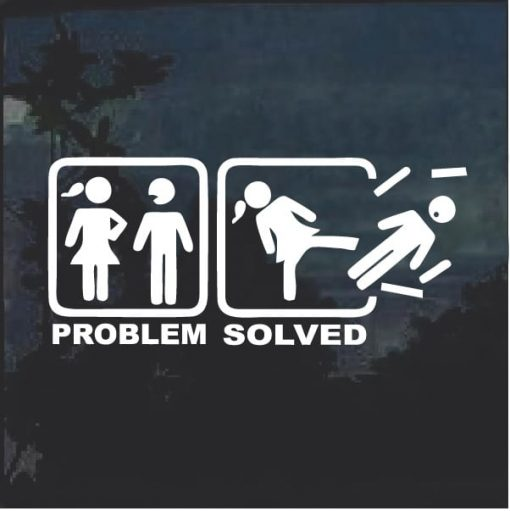 Problem Solved Female Funny Window Decal Sticker