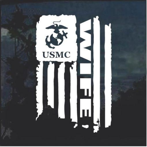 USMC Marines Wife Weathered Flag