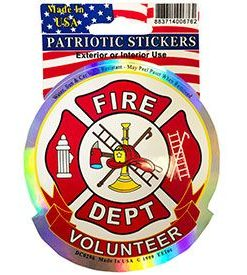Fire Dept Fireman Holographic Full Color Window Decal Sticker Licensed