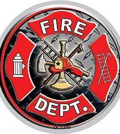 Fire Dept Fireman Full Color Window Decal Sticker Licensed D2