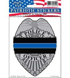 Police honor badge blue line window decal sticker