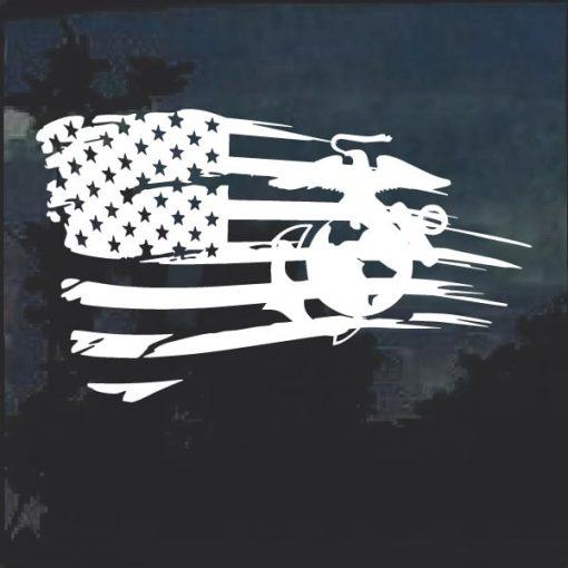 Distressed flag marine veteran window decal sticker a2