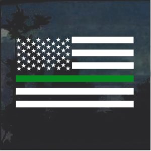 Thin Green Line Military Flag Decal Sticker