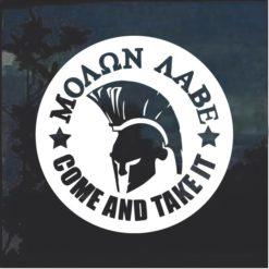 Molon labe come take it windwo decal sticker round